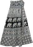 Ethnic Elephant Midi Skirt in Black White