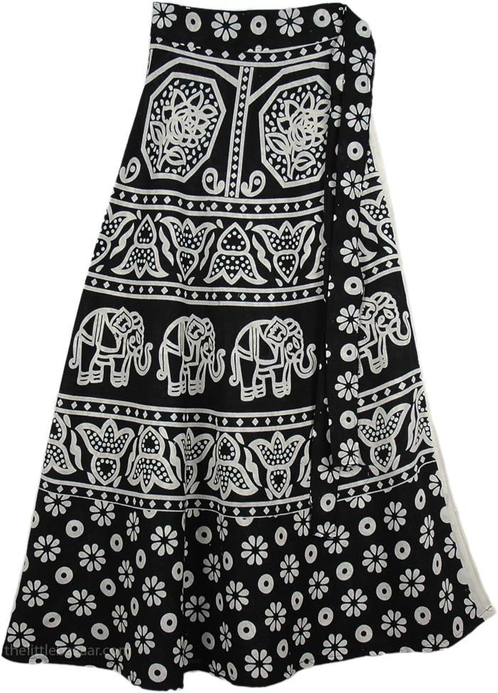 Back White Floral Print Skirt, Black White Cotton Wrap Skirt