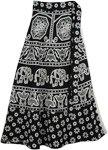 Black White Cotton Wrap Skirt