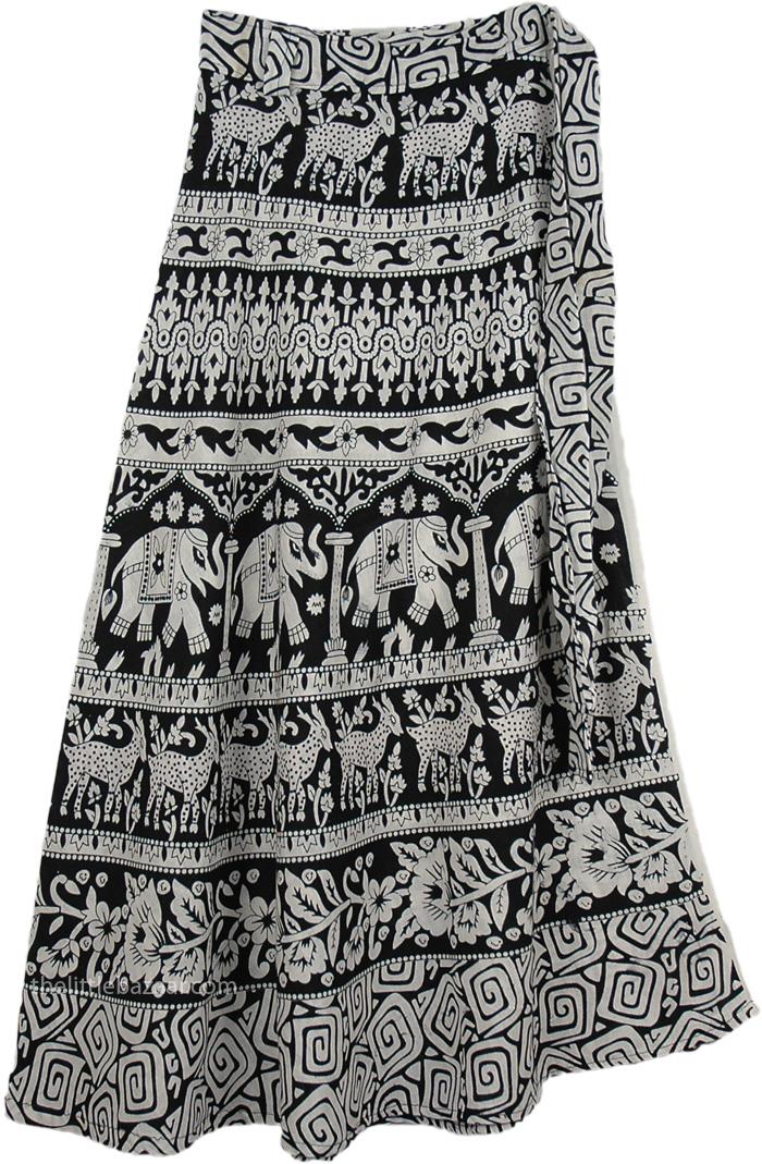 Black White Medium Length Skirt, Bloom Black White Wrap Long Skirt