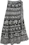 Bloom Black White Wrap Long Skirt