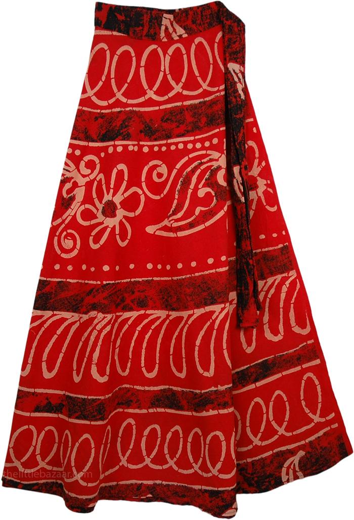 Heavy Cotton Wrap Around Tall Skirt, Cinnabar Long Cotton Wrap Skirt