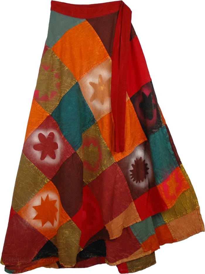 Patchwork Spray Painted Wrap Around Skirt, Trinidad Fall Wrap Around Skirt