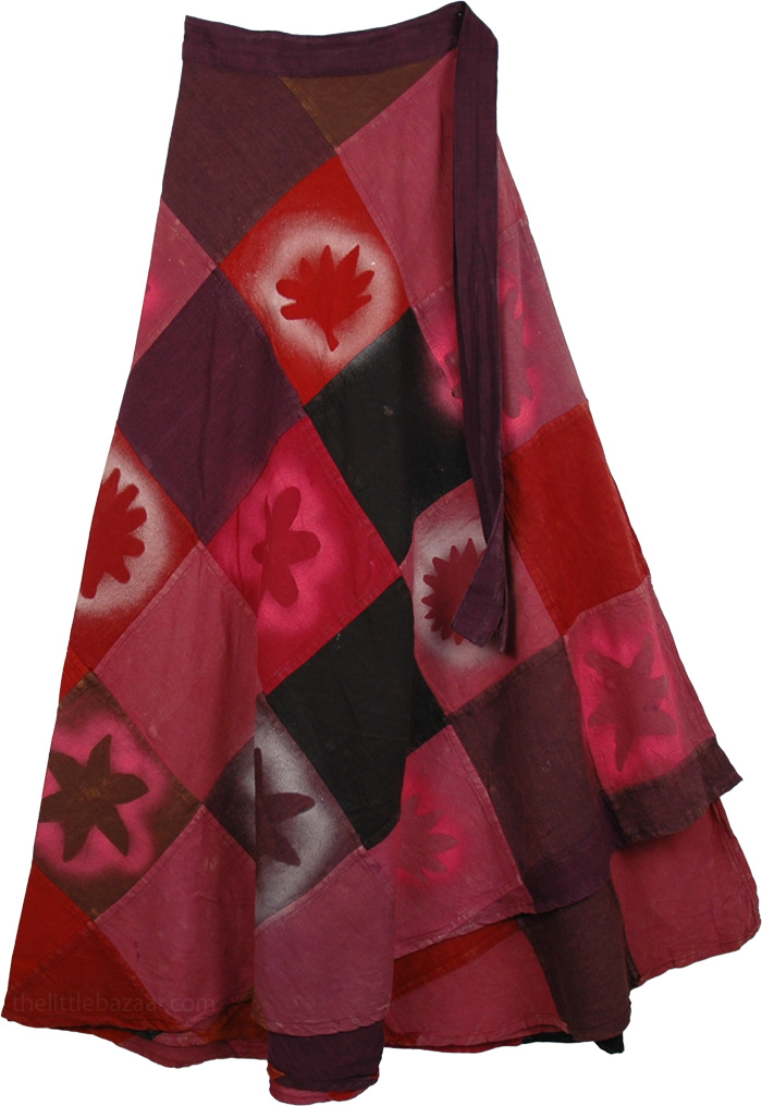 Bohemian Patch Pink Skirt, Stonewashed Wrap Cotton Winter Skirt