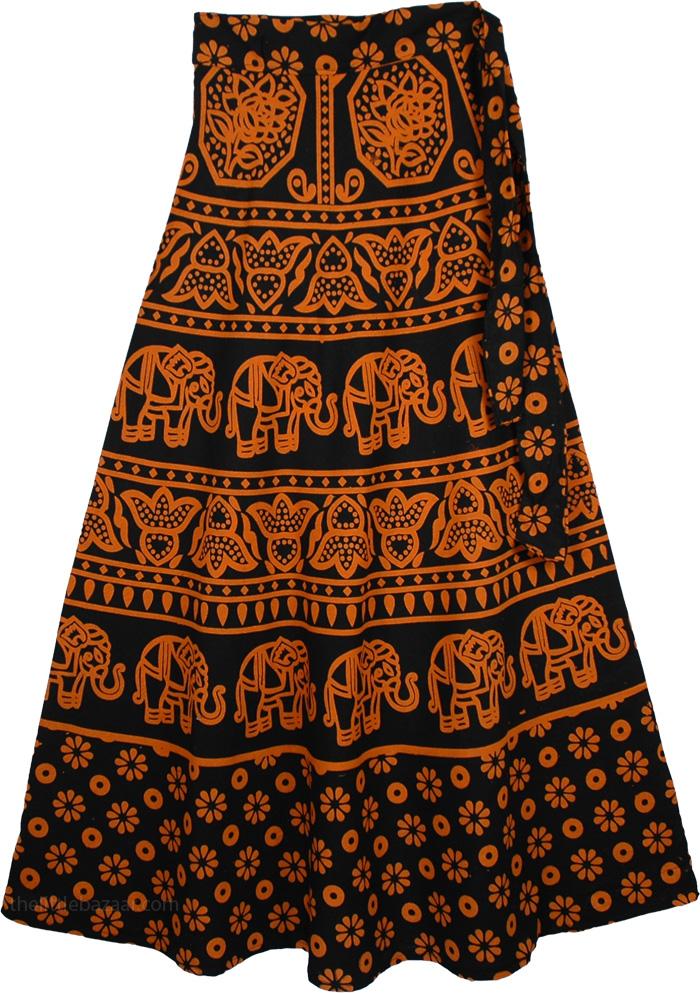 Orange Print Tie Around Skirt, Tia Maria Thai Wrap Skirt