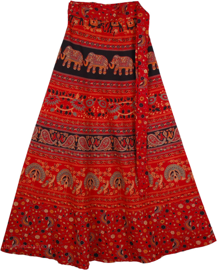 Wrap Skirt Dress in Red, Block Print Red Wrap Style Skirt