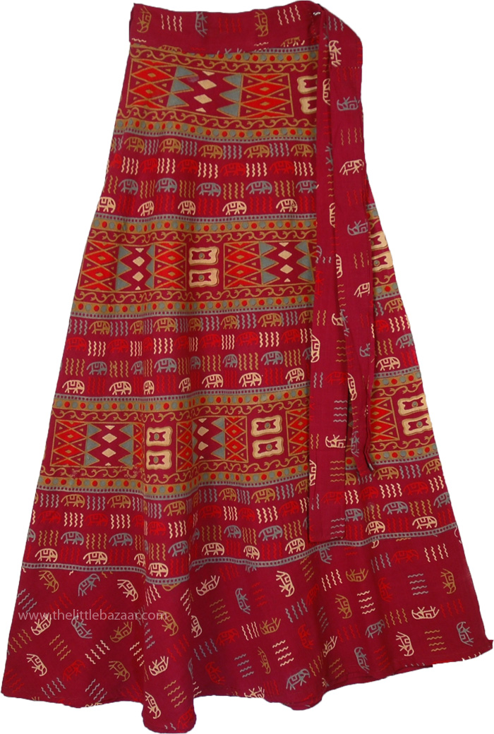 Old Civilization Red Mix Wrap Long Indian Skirt, Wrap Around Dress Skirt in Monarch