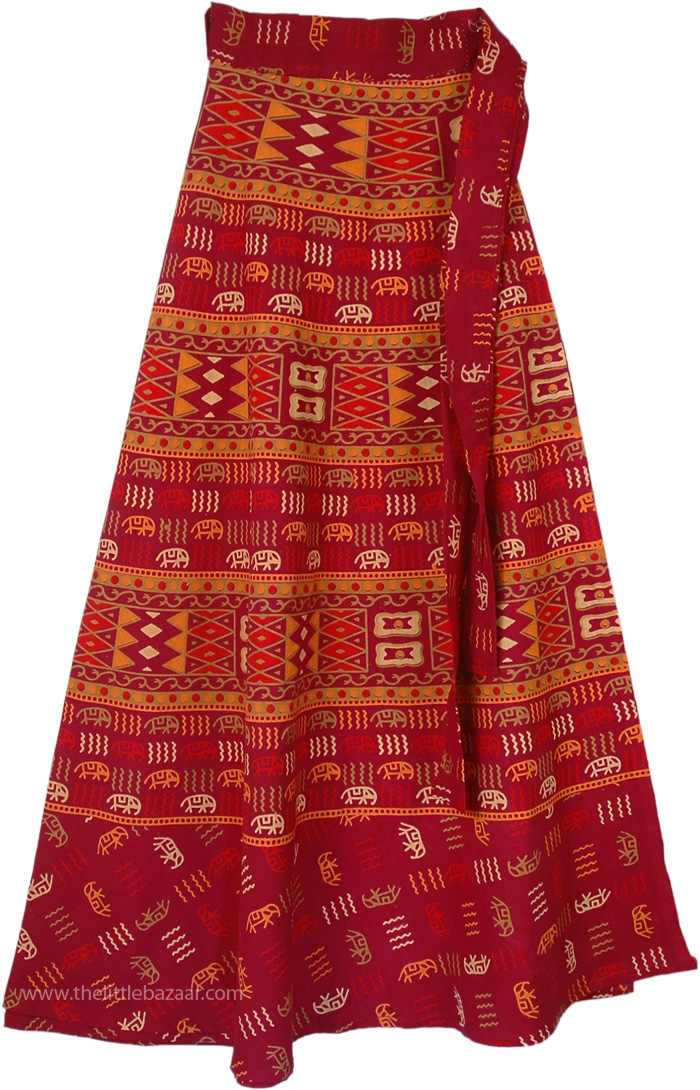 Abstract Elephant Pattern Wrap Skirt, Verdigris Gypsy Ethnic Wrap Skirt