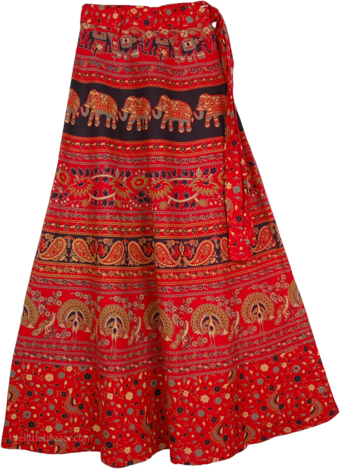 Red Tamarrilo Mix Wrap Long Indian Skirt, Elephant Wrap Around Skirt in Red Cardinal