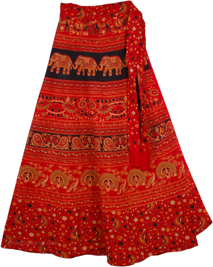 Maroon Symbols Wrap Long Indian Skirt, Dark Red Tribal Wrap Skirt
