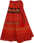 Dark Red Tribal Wrap Skirt