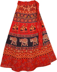 Red Black Wrap Around Ethnic Skirt