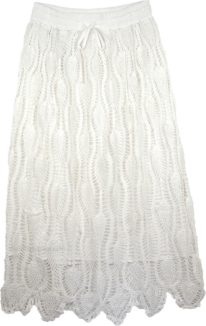 White Arielle Crochet Skirt, Snow White Crochet Skirt