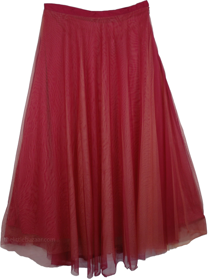 Three Layer Net Skirt in Dark Pink, Copper Rust Mesh and Tulle Classic Skirt