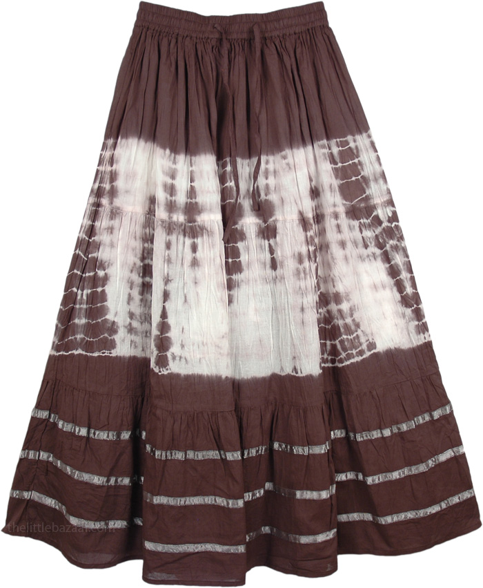 Brown White Tie Dye Indian Skirt, Brown and White Tie Dye Skirt