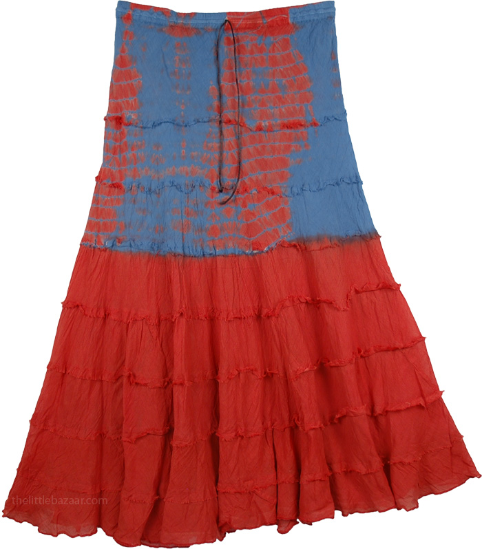 Tie Dye Flares Long Skirt, Poppy Tie Dye Summer Skirt