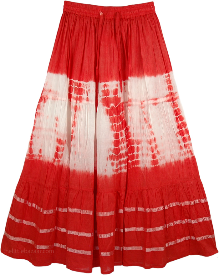 Reddish Glow White Tie Dye Indian Skirt, Crimson Punch Tie Dye Skirt