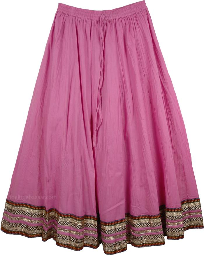 Tapestry Solid Pink  Full Skirt, Charmed Dressy Cotton Skirt