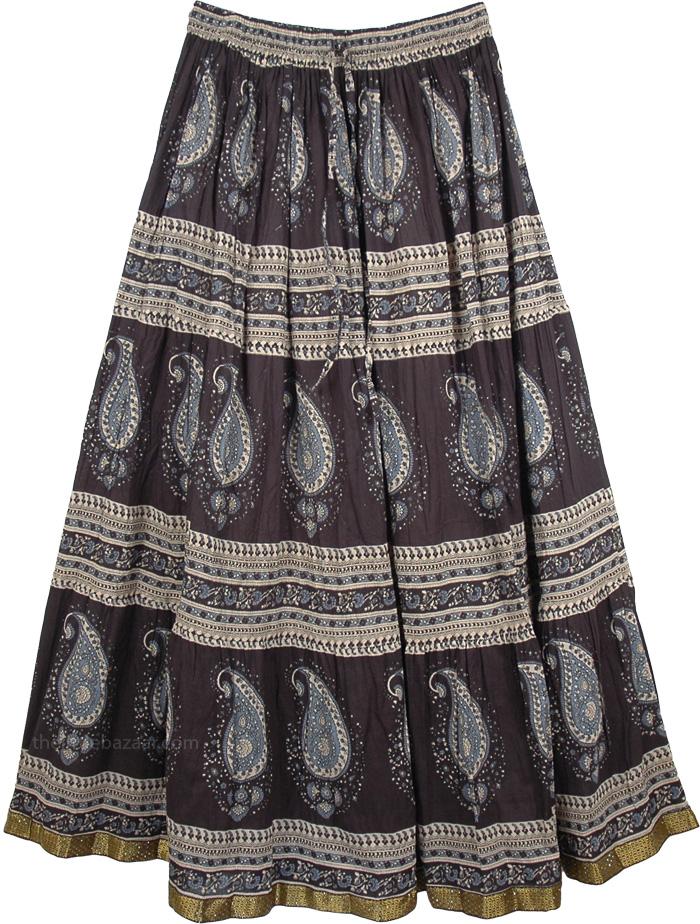 Black Paisley Cotton Printed Long Skirt, Kimberly Printed Black Cotton Skirt