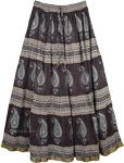 Black Paisley Cotton Printed Long Skirt [4086]