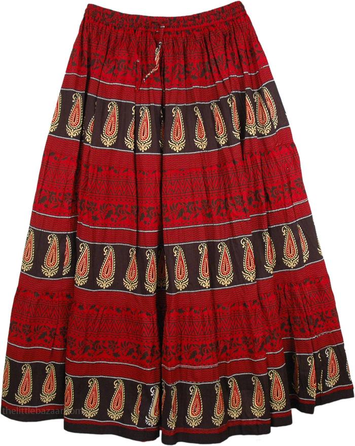 Black Red Print Long Skirt, Milano Red Summer Long Skirt
