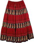 Black Red Print Long Skirt [4087]