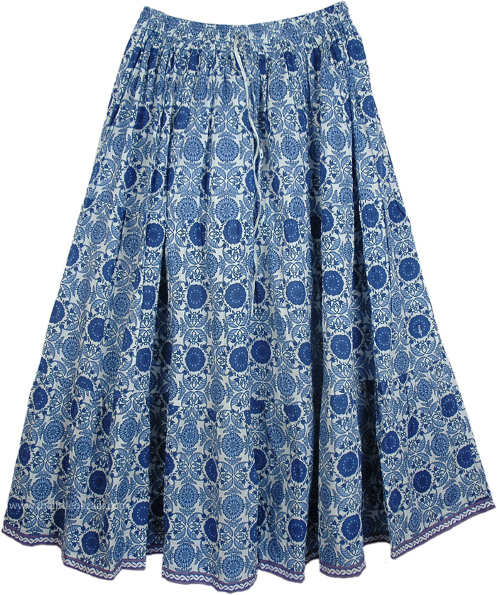 Blue Floral Cotton Printed Long Skirt, East Bay Blue Cotton Long Womens Skirt