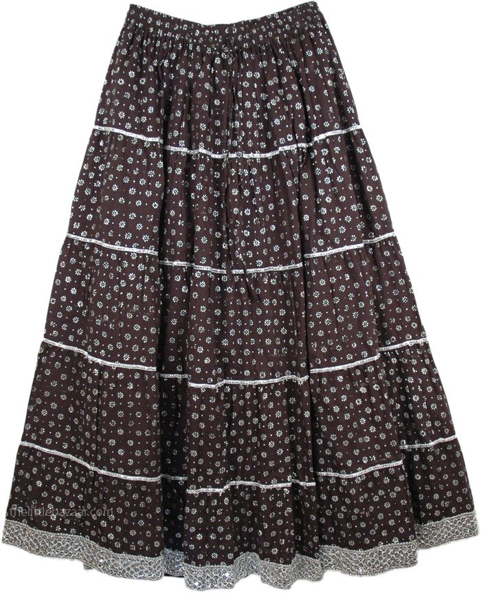 Silver Black Full Skirt, Starry Night Brocade Skirt