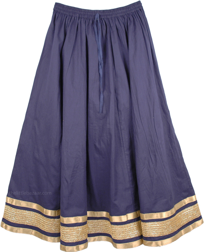 Navy Gold Fashion Long Skirt, Martinique Womens Fashion Skirt