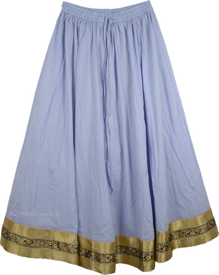 Cinched Light Blue Full Skirt, Cadet Blue Lustrous Skirt