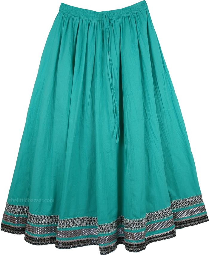 Cotton Heaven Cool Skirt, Emerald Green Summer Breeze Skirt
