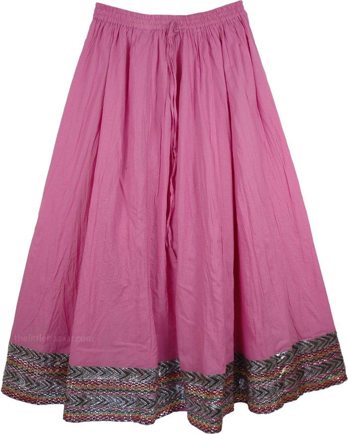 Boho Cotton Full Skirt in Radiant Orchid, Radiant Orchid Festival Skirt