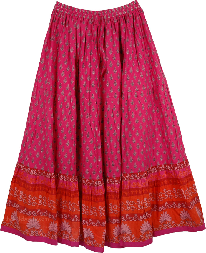 Flowers Cotton Printed Long Skirt, Hibiscus Cotton Patio Skirt