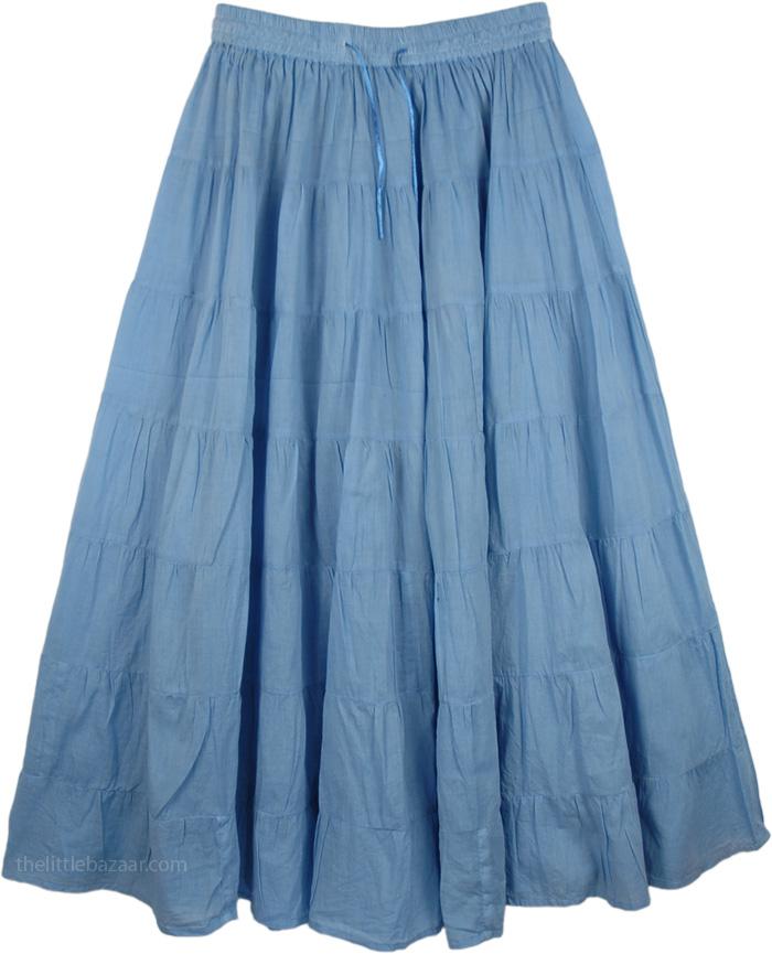 Long Skirt in Light Blue, Glacier Blue Light Cotton Skirt