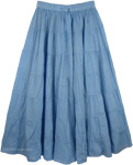 Glacier Blue Light Cotton Skirt