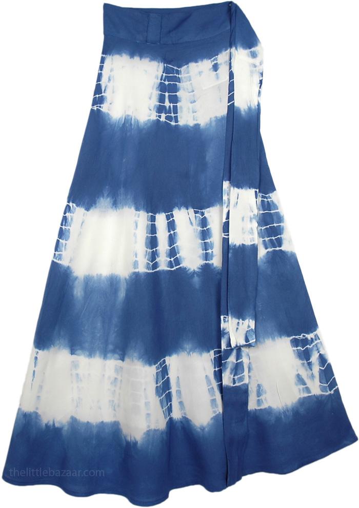 Blue White Tie Dye Skirt, Blue Tie Dye Oceans Skirt