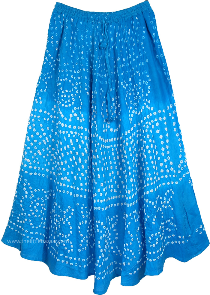 Sky Blue Bandhani Tie Dye Cotton Long Skirt  4bc102997ac8
