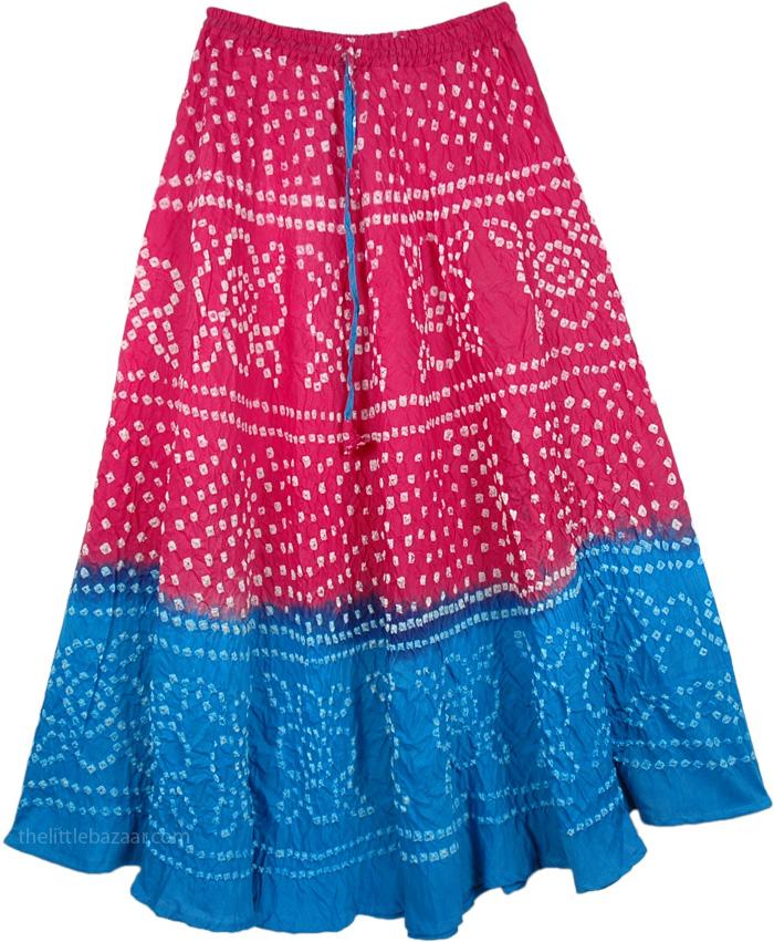Lassies Tie Dye Long Skirt, Pink Blue Tie Dye Long Skirt