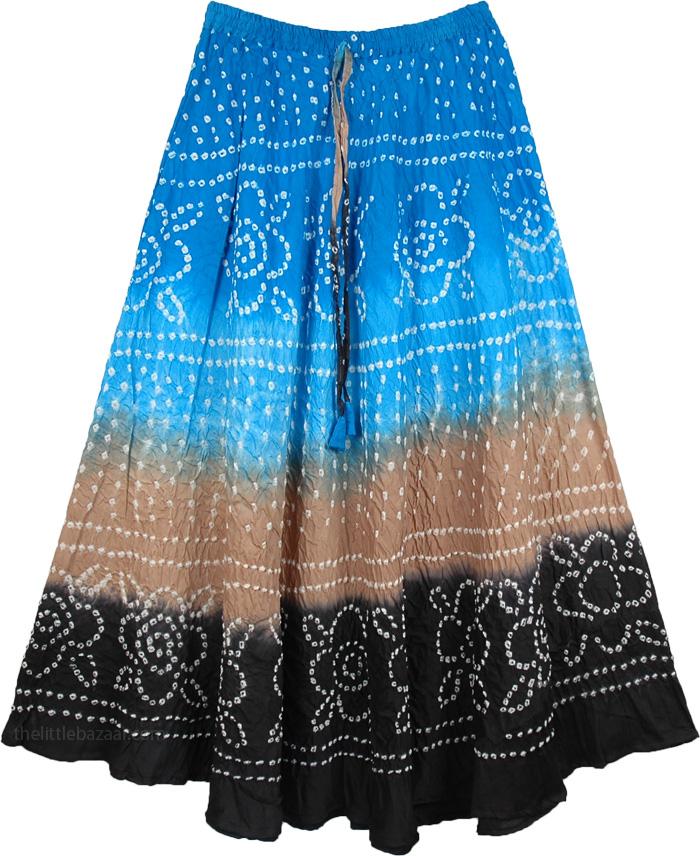 Blue to Black Ethnic Tie Dye Long Skirt, Celestial Tie Dye Skirt