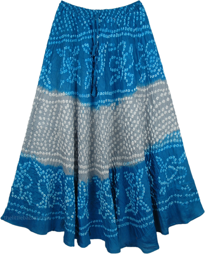 Blue Ethnic Fashion Long Skirt, Bahamas Tie Dye Pull-On Skirt