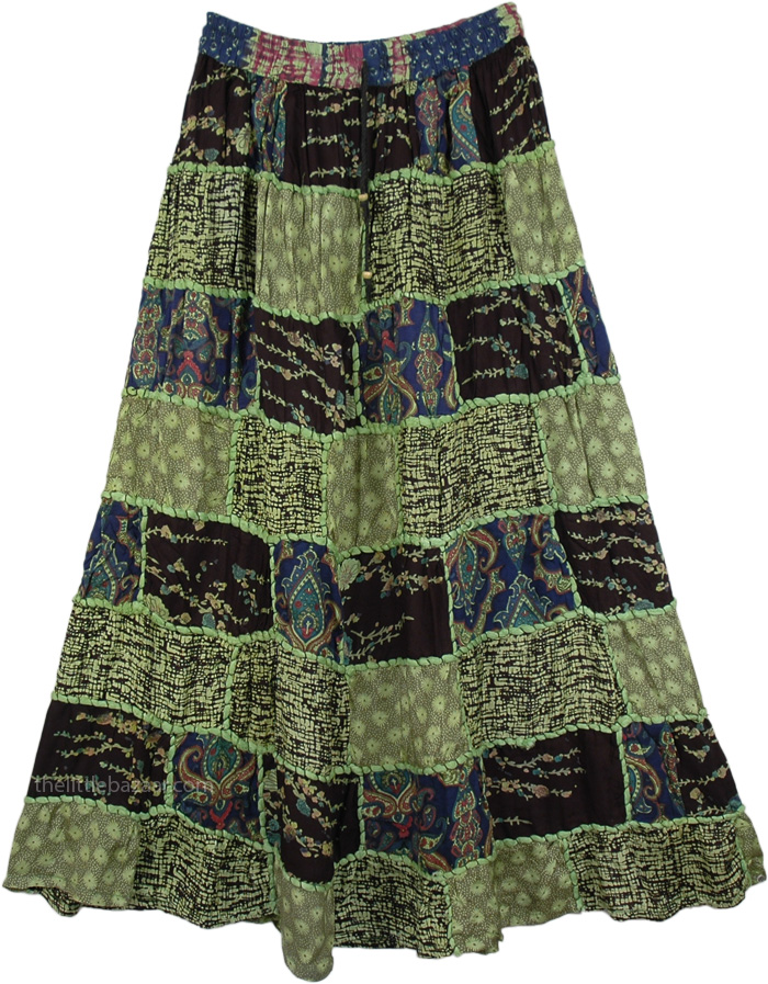 Ethnic Embroidery Green Patchwork Skirt , Patchwork Boho Urban Skirt