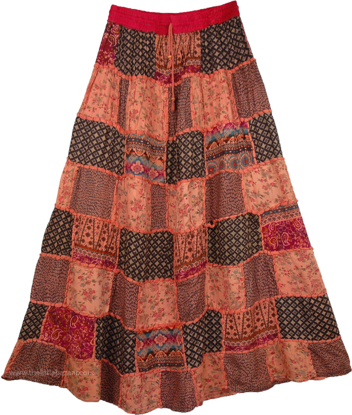 Pinkish Orange Patches Long Skirt , Flamed Apricot Patches Boho Long Skirt