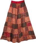 Pinkish Orange Patches Long Skirt  [4123]