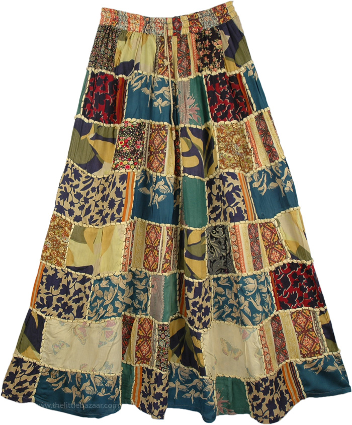 Ethnic Embroidery Green Patchwork Skirt , Gypsy Patchwork Boho Skirt