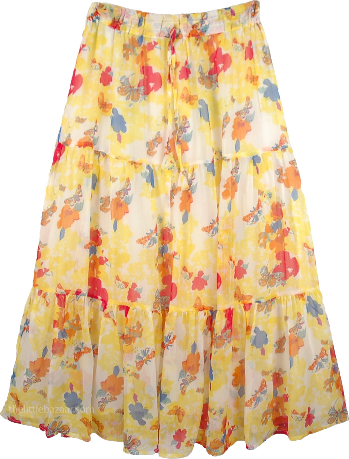 Floral Chiffon Skirt, Butterfly Meadow Spring Skirt