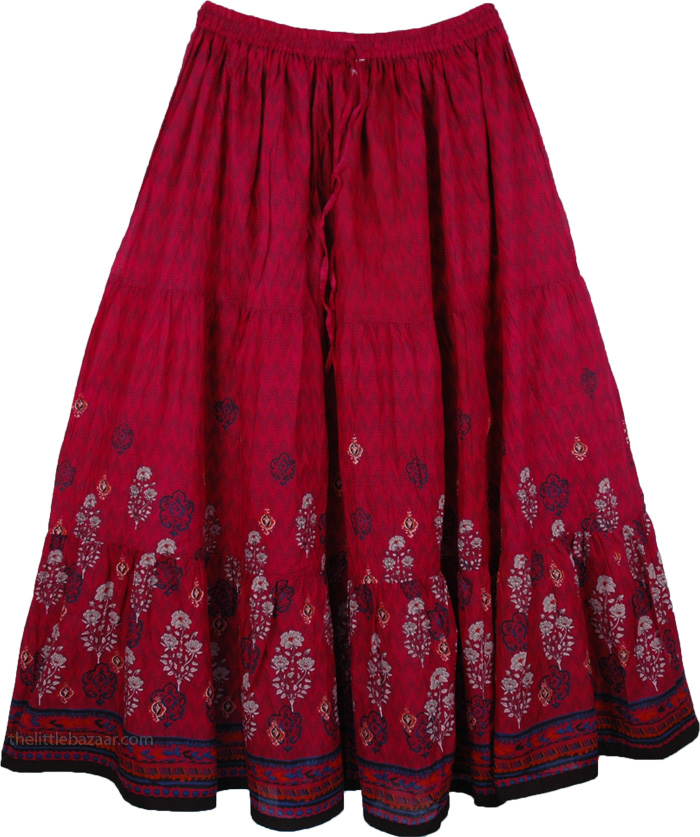 Cotton Printed Long Skirt Swirly, Dusty Monarch Floral Cotton Print Long Skirt