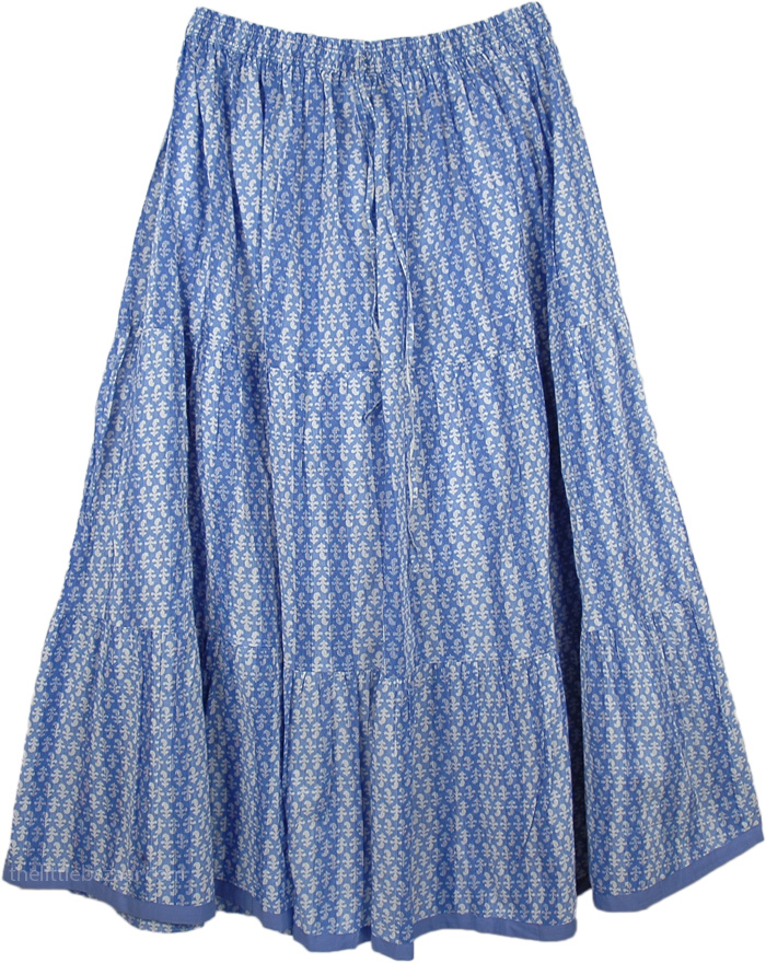Comfy Cotton Printed Skirt, Steel Blue Cool Skirt