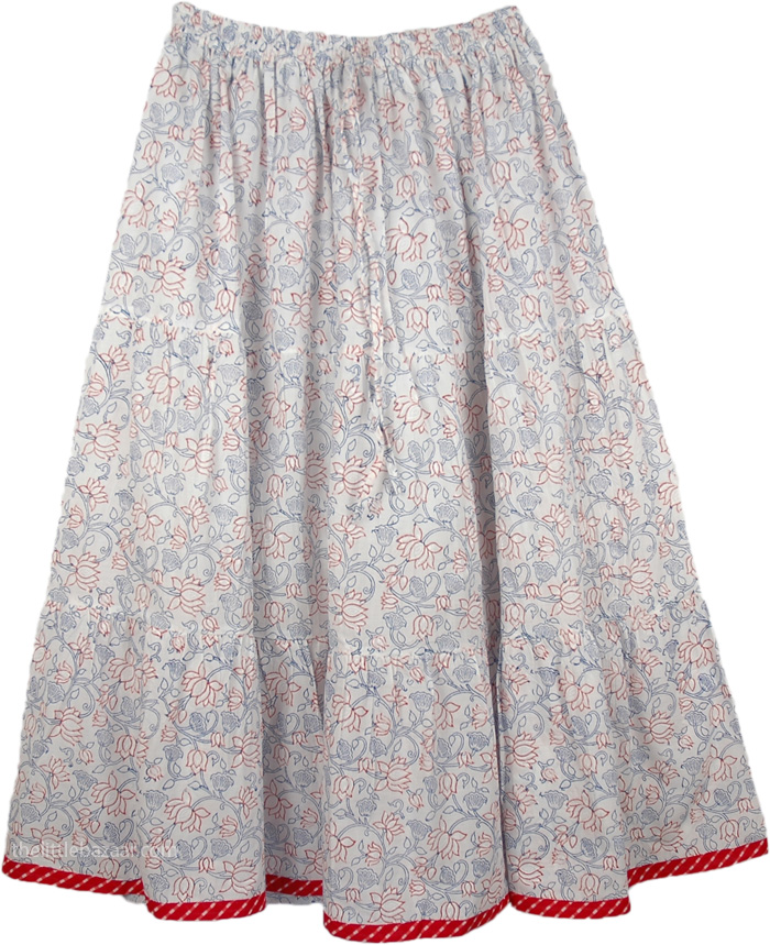 Red Flowers Printed Cotton Long Skirt, Calming Lotus Womens Long Skirt