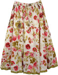 Spring Floral Cotton Print Pull-On Skirt