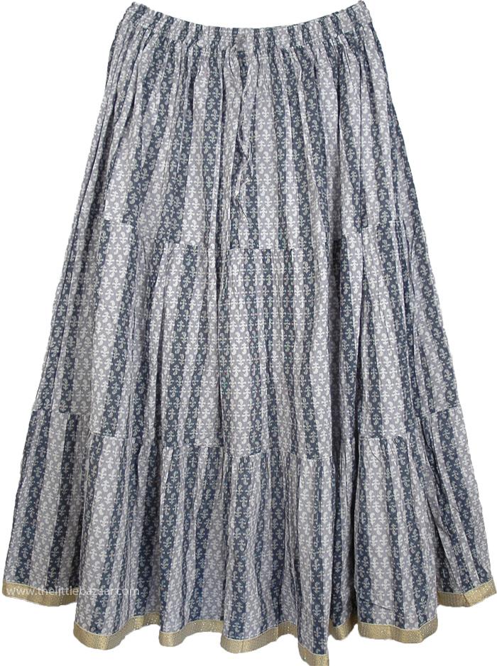 Soft Cotton Printed Skirt, Venus Grey Women`s Full Cotton Skirt